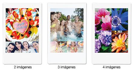 Imprime más de una foto en una sola película instantánea. 2, 3 ó 4 imágenes